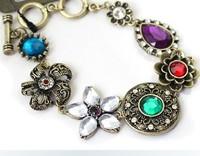 2013 New Arrival Fashion Vintage Noble Women Shining Rhinestone Hollow Out Flower Bracelet B380