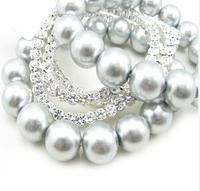 Fashion Sparkling Rhinestone Grey Pearl Quality Bracelet B408