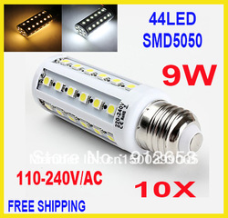 10pcs/lot E27 E14 B22 SMD 5050 44led 9W light 110-240V Energy Saving Corn Light Lamp Bulb(China (Mainland))