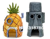 2 Pcs SpongeBob Pineapple House & Squidward Easter Island Home Aquarium Decoration Fish Tank Ornament Decor