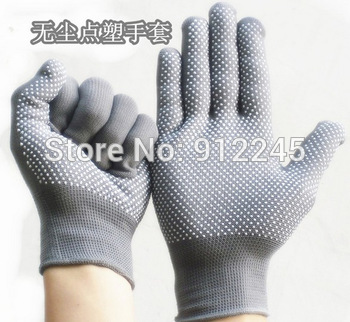 Labor,driving gardening Workshop gloves,Nylon clean point plastic,Safety ,Breathable,Don't shed hair 3pairs/lot Free shipping