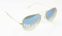 Free Shipping gradient with blue lenses 62mm sunglasses gold / silver / gray / black frame gradient blue lens glass sunglass