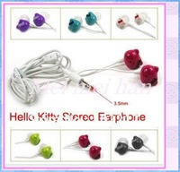 Amazing price!10pcs 3.5mm Newly cute Cartoon HelloKitty  in-ear Earphone Headphone 6 Colors  For  Free Shipping