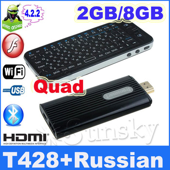 Russian Air Mouse KP-810-16A and RK3188 Quad Core TV stick Android 4.2 Tronsmart T428 TV Stick 2GB RAM Broadcom AP6330 BT Wifi