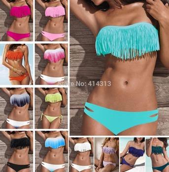 Sexy Boho Fringe Bikini Set padded Womens Tassels Swimwear Swimsuit Bandage Bathingsuit 2014 Hot Free Drop Shipping SMLNew