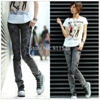 1pjcs Free shipping smoky grey denim trousers (size: 26,27,28,29,30,31)  #H886