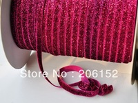 50yards 5 colors Free shipping 3/8 inch glitter foldover elastic   FOE  elastic for headband hair  Accessories