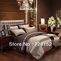 Free shipping embroidered Luxury jacquard satin cotton/silk QUEEN / King Size bedding set /duvet cover /bed sheet /comforter set