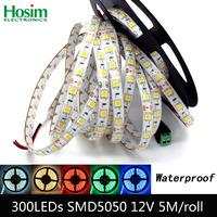 5m 300 LED 5050 SMD 12V flexible light 60 led/m 5050 waterproof LED strip tape 12V DC white/warm white/blue/green/red/yellow