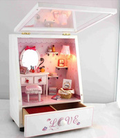 Free Shipping Novelty House With Music Box, Kids Eaducational Assembly  DIY Perfect Lovers ' Room Doll House With LED Lamps