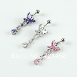 Free Shipping 5pcs/lot Dangle Crystal Zircon Navel Belly Button Barbell Rings Rhinestone Body Piercing(China (Mainland))