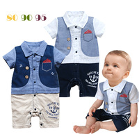 2014 NEW Newborn Baby boy romper summer short-sleeves baby sleepsuit Marine bebe Turndown Waistcoat  sleepsuits infants wearing