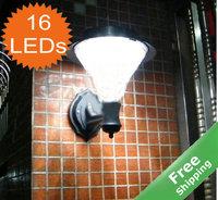 Solar wall lamp+100% solar power+16 LEDs+White/Warm white LEDs+ 2pcs/lot+Free shipping