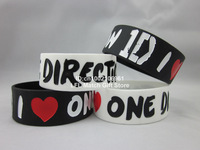 "I Love One Direction 1D wristband,silicone bracelet,filled in colour,promotion gift,2colours,1"" band,50pcs/lot,free shipping"