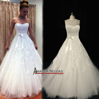 Top-quality Lace Corset Bodice Puffy A-line Russia Real Wedding Dress NS72