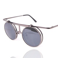 Steam punk metal small box flip double layer sun glasses vintage round sunglasses fashion trend sunglasses