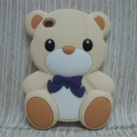 Free Shipping 3D Cartoon Animal Series Lovely Cute Teddy Bear Soft Silicone Rubber Case Cover For ipod Touch 4 4G 4TH GEN