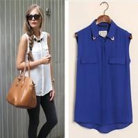 new summer blusas femininas 2014 sleeveless chiffon shirts women collar rivet  women clothing free shipping
