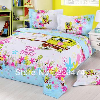 Free Shipping! 100% cotton Fashion cartoon CUTE  SpongeBob duvet cover sheet set King/queen size 4PCS bedding set for children