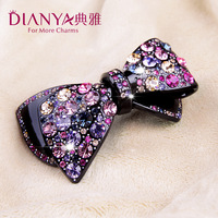High-end boutique elegant Korean Austria Rhinestone tiara bow hair clips hair accessories spring clip pony tail clip jewelry