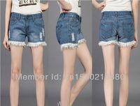 2013 modest XXXL blue jeans shorts women, hot selling cheap high waisted denim pants 2013