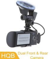 Dual Front & Rear Camera DVR Car Vehicle Dash Dashboard GPS Data Recorder 1.3M,free shipping Wholesale