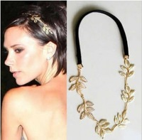 MOQ $5 New Fashion Gold Elastic Romantic Olive Branch Five Leaves Head Bands Hair Accessories Z-C8048 Free shipping