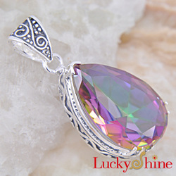 LP0080 Free Shipping ! 2013 Fashion Jewelry Suppliers Mystic topaz Silver Pendant Jewelry Mather&#39;s Day Gift(China (Mainland))