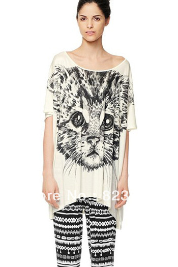 2013 Spring Big Round Collar Summer Cool Tee Cut Cat Face Printed T-shirt Loose Black&White Top Free Shipping(China (Mainland))