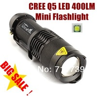 UltraFire TK68 CREE Q5 LED Flashlight Portable Mini Flashlight Adjustable Focus Zoom flash Light Lamp (AA /14500) - Black