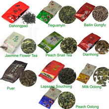 10 Kinds Flavours Tea including Puerh Black Green White tea Oolong Puer Dahongpao Tieguanyin Free Shipping