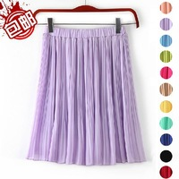 2014 summer elastic all-match pleated chiffon women skirt 12colors Free shipping