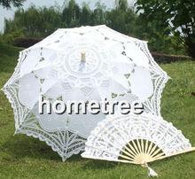 """30 """" Blanco de encaje bordado Sombrilla Sun Umbrella & Lace Fan Party novia de la boda Decoración Envío Gratis(China (Mainland))"""