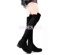 NEW!! Black Fashion Over the knee Faux Suede High Flat Boots Women's Shoes 10097