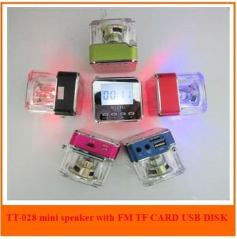 2013 crystal mini usb speaker , home stereo mp3 mp4 speaker , music loudspeaker, portable laptop computer TF FM  speaker TT028