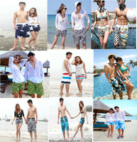Free Shipping  Casual Couple Beach Shorts Pants Blue Flower Elastic Waist  For Man & Woman Summer Travel Holiday
