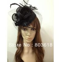 2013 Sinamay Fascinator Black Hat Headband Bridal Church Derby Cocktail