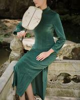 Cheongsam vintage 7 long-sleeve medium-long 100% thickening cotton flock printing long Qipao solid color dark green