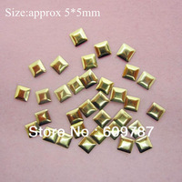 Free Shipping 2000pcs/lot 5mm Gold Square 3d metal nail studs nail decorations