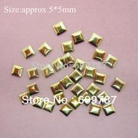 Free Shipping 2000pcs/lot 5mm Gold Square 3d metal nail studs nail decorations