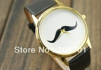 Wholesale 1pcs Fashion Moustache Bowknot Round  Design Leather Strap Decoration Wrist Watch Free Shipping