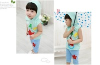 Free shipping children/baby/girls sports suit summer set  2013 kids short sleeve t + shorts