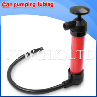 Portable Car Tire Water Oil Fuel Change Transfer Gas Liquid Pipe Siphon Tool Air Pump Kit Free Shipping