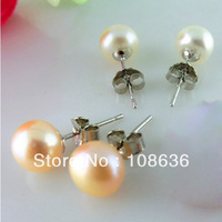Mini Order 15 Free Shipping(15pcs/lot) 4mm Bread  Freshwater Pearl Ear Stud  Classic Silver With Platinum Plating