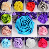 wholesale 20pcs 35mmX22mm sea blue&multicolor  Satin Ribbon Rose Flower Wedding AppliquesTrim Sewing DIY Craft
