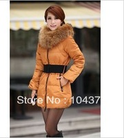Free shipping Fashion cashmere coat  Women's fashion wadded jacket medium-long hood thickening large fur c ollarcoat outerwear