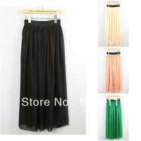 Hot Sale Womens Lady Elegant maxi  Pleated Fashion Chiffon long skirt With High Quality  Lining Free Shipping