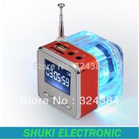 Mini speaker for mobile phone with FM radio TF /sd / usb disk slot , led light mini portable crystal speaker TT-028/TT028