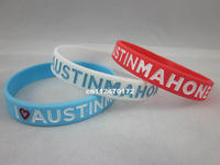I love Austin Mahone wristband, silicon bracelet, filled in colour, 3colours, 100pcs/lot, free shipping