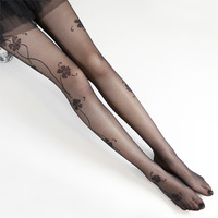 tatoo tights Summer sexy legs vine jacquard ultra-thin t seamless basic rompers black stockings  pantyhose sexy